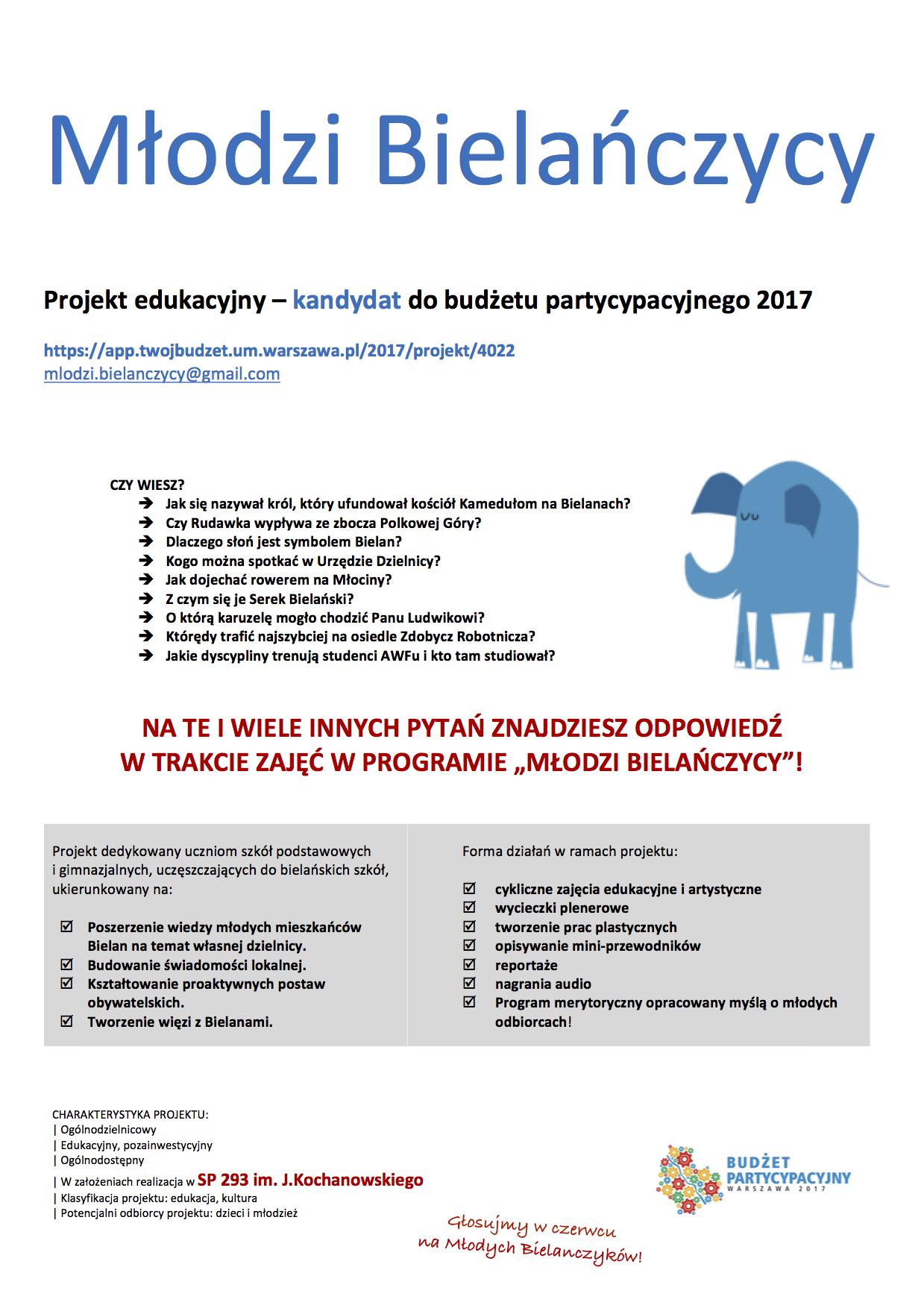 """Projekt """"Młodzi Bielańczycy"""" – informacja"""